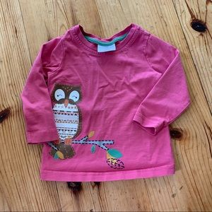 Hanna Andersson Owl Long Sleeve Pink Top size 80